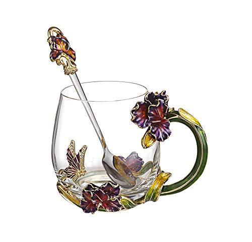 SEMAXE 11OZ Glass Tea Cup Coffee Mug,Hand Blown Glass Drinking Mug Made of Lead-free Glass and Enamels
