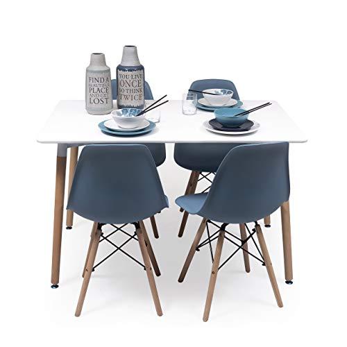 Conjunto de Comedor Tower con Mesa lacada Blanca y 4 sillas, de diseño nórdico (120x80, Azul Horizonte)
