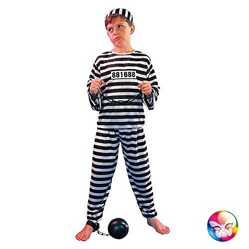 Eurocarnavales - Cs886222/l - Costume Enfant Prisonnier Noir et Blanc Taille L 10/12 Ans