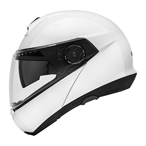 SCHUBERTH C4 Glossy White (Weiß), M / 57, Klapphelm Motorradhelm, integrierte Sonnenblende, Antibeschlagscheibe, Mikrofon, Lautsprecher und Antenne integriert (SC1 ready), Sicherheitsnorm ECE-R22.05