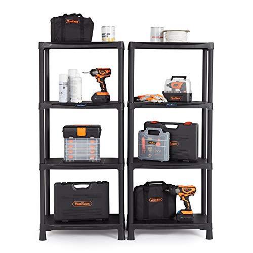 VonHaus 4 Tier Garage Shelving Unit Pack of 2 - Black Plastic Interlocking Utility Storage Shelves - Each Unit 52 x 24 x 12 inches