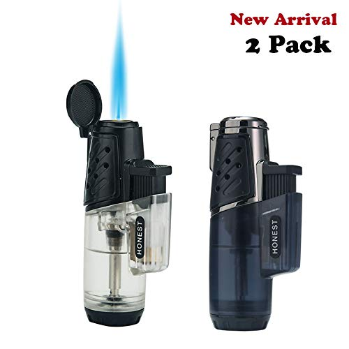 Jet Torch Lighter Windproof Turbo Strong Flame Gas Butane Refillable Torch Lighter with Butane Window Gadgets for Men (2 packs Single power)