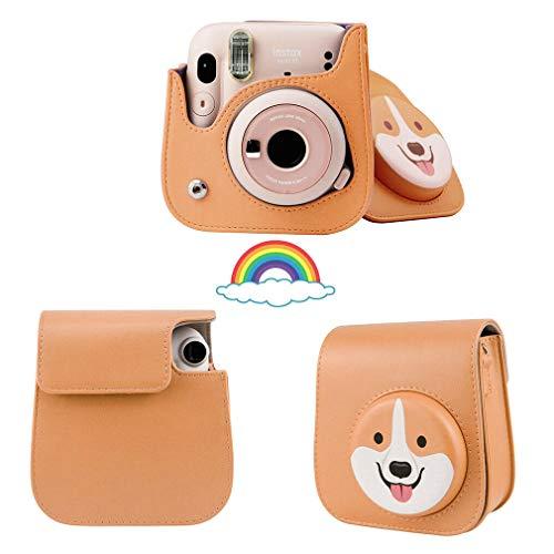para Fujifilm Instax Mini 11/9/8 Cámara instantánea PU Bolsa de Cuero de PU Casos de Portada. Amarillo de Cachorro
