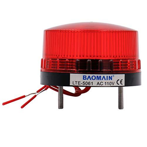 Baomain Industrial Signal Warning lamp Round Red Warning Light Blinking LTE-5061 AC 110V 3W