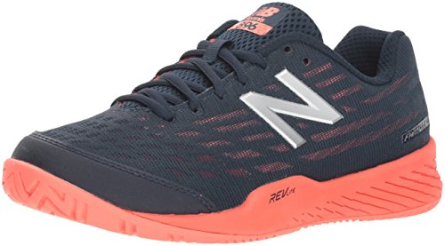 New Balance Women's 896 V2 Hard Court Tennis Shoe, Black/Orange, 6.5 D US