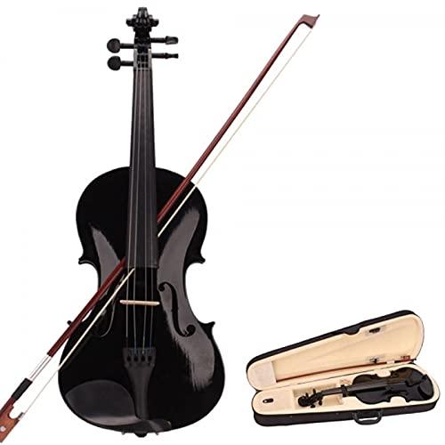 KEPOHK Violín acústico natural 4/4 violín artesanal 4/4 con estuche arco mudo colofonia instrumento de 4 cuerdas para principiantes negro