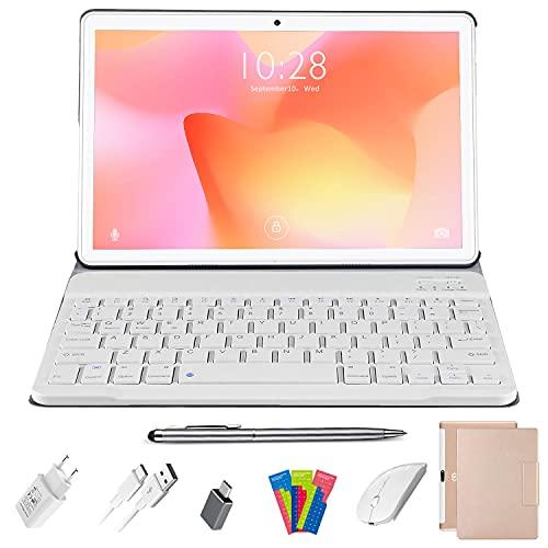 Tablet 10 Pollici Android 10.0 DUODUOGO 4G LTE Tablets, Quad Core 1.6GHz 4GB RAM 64GB ROM | Batteria 8000mAh | Doppia Fotocamera | WiFi | HD IPS | Bluetooth | OTG | GPS, con Tastiera e Mouse, Or
