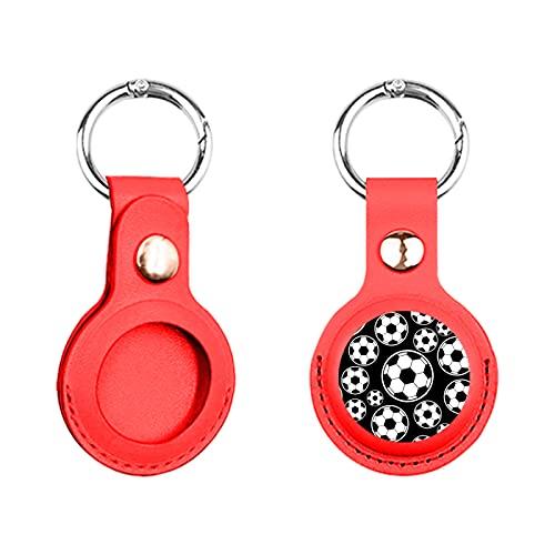 Funda de piel con diseño de dibujos animados de fútbol Airtags antipérdida, compatible con Apple Air Tag 2021, funda protectora para niños y mascotas, llavero de metal, impresión personalizada (rojo)