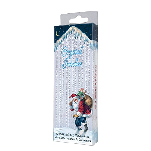 Old World Christmas Ornaments: 12 Crystal Icicles Glass Blown Ornaments for Christmas Tree (34015)