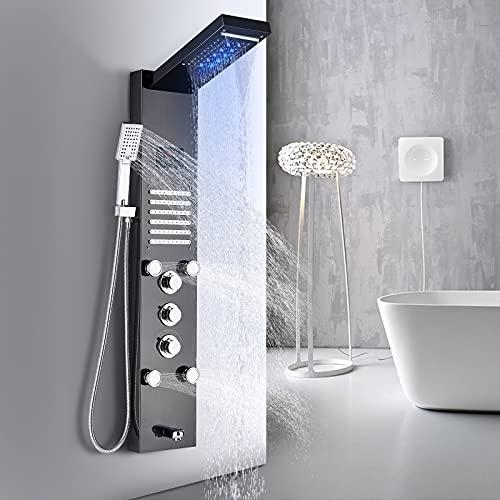 TVTIUO Panel de Ducha Hidromasaje en Acero Inoxidable Con LED Alcachofas 5 Salida de Agua Multifunción Sistema de Ducha Montaje en Pared