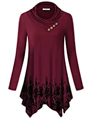 The tunic with bronze button front showcases a distinctive cowl-neck detail for standout style. Cut in a flattering and feminine relaxed silhouette that falls perfectly to flatter every shape. Has a good weight that drapes nicely to asymmetric hem fo...