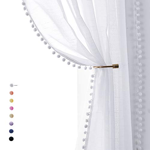 """Snow White Sheer Curtains 95"""" Bedroom Decorative Pompom Trimmed Voile Window Curtain for Living Room Linen Look 2 Panels"""