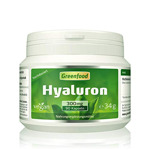 Hyaluron, 300 mg reines Hyaluron (!), extra hochdosiert, vegan, 90 Kapseln – OHNE künstliche Zusätze. Ohne Gentechnik. Vegan.
