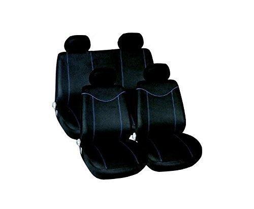 Garden Mile® Lot de 10 Housses de siège universelles avec appuie-tête pour sièges Avant et arrière Style Course Protection de Style Voiture de Sport pour Homme Bleu et Noir