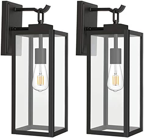 Outdoor Wall Lantern with ST19 LED Bulb 2700K 60W Equivalent Matte Black Wall Light Fixtures product image