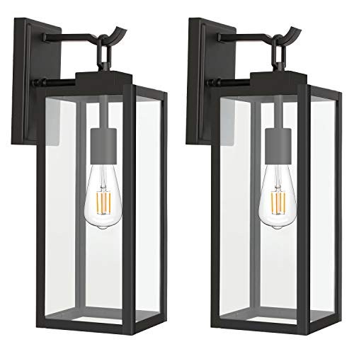 Outdoor Wall Lantern, Matte Black Wall Light Fixtures, Exterior Porch Light, Architectural Wall Sconce with Clear Glass Shade for Entryway, Porch, Doorway, ETL Listed, 2 Pack
