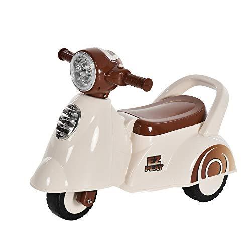 homcom Moto per Bambini 12-36 Mesi, Triciclo Senza Pedali con Luci e Suoni Realistici, Beige e Marrone, 66x33x 47.7cm