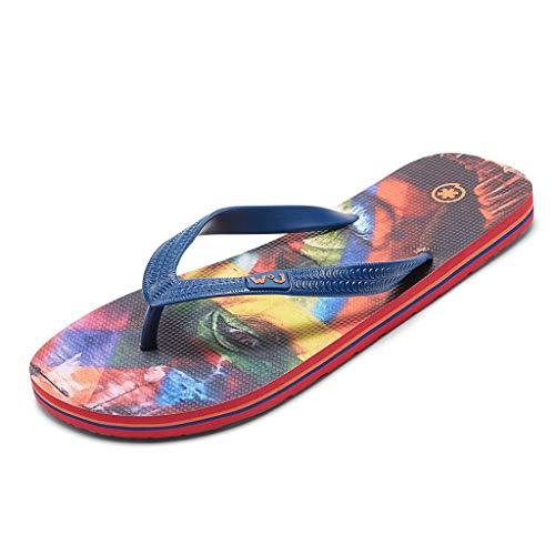 Summer New Beach Shoes Gepersonaliseerde Slijtvast Creative Fashion Slippers Anti-slip Trend lekke banden Heren Flip-flops (Color : Flower color, Size : 43)