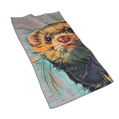 XCNGG Alphabetical Ferret Bathroom Hand Towels Absorbent Soft Washcloth Home & Kitchen Microfiber 27.5 X 17.5 Inch for Beach, Travel, Swim, Pool, Camping, Outdoors Towel