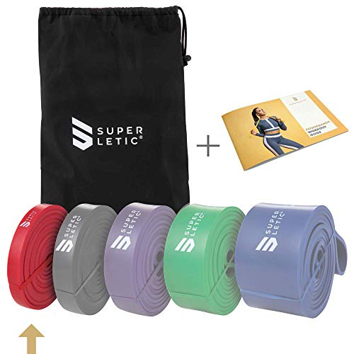 SUPERLETIC Powerbands, Widerstands-Fitness-Bänder, Pullup und Resistance-Training, 5 Stärken, rot, schwarz, lila, grün und blau, mit Workout-Guide (1 - Light (Rot))