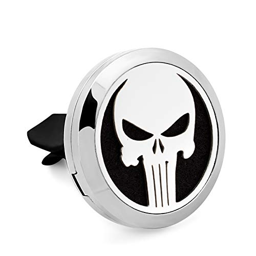 Aromabug Regular Size (Punisher) 30mm Car Aromatherapy Essential Oil Diffuser Stainless Steel Locket Air Freshener with Vent Clip 7 Pads 3 Oils Included