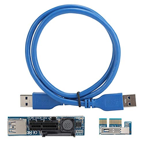 Wendry moederbord verlengkabel, blauwe moederbord PCI-E 1X naar PCI-E 4X USB3.0 ABS-verlengkabel met SATA-voeding