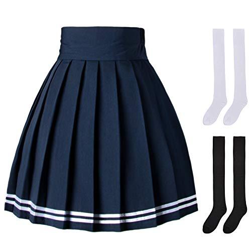 Elibelle Damen Japan Hohe Taille Tartan Plissee Tanzen Cosplay Kostüme Rock mit Socken - Blau - X-Klein