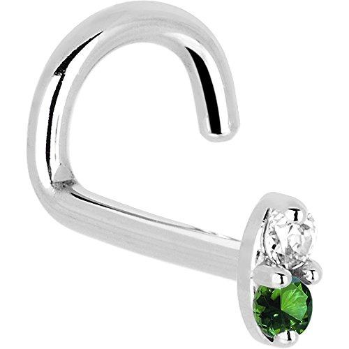 14K oro blanco 1.5mm para nariz Izquierda auténtica esmeralda diamante Marquise Nariz Anillo Calibre 18