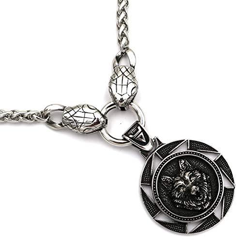 Moneda para Hombre Cabeza Lobo Cabeza Serpiente Collar Joyería Nórdico Vikingo Celta Colgante Acero Inoxidable Día Padre Nobleza Moda Símbolo Regalo Valentía Generosidad,80Cm31.5In