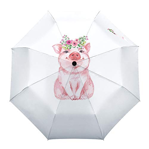 Faltbarer Reise-Regenschirm, Gartenzwerg, Sonnenblume, Biene, automatisches Öffnen/Schließen, kompakter, winddichter Regenschirm für Herren/Frauen/Kinder