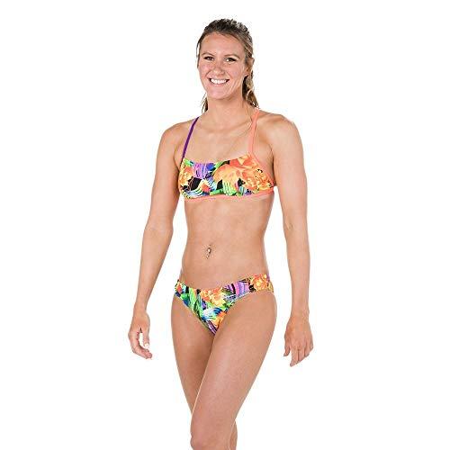 Speedo Damen Badeanzug Cross Back, Damen, 810838C561, Fluo Orange/Violet/Fake Green, 38