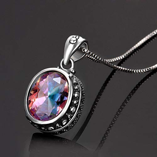 HGDS S925 Sterling Silver Necklace Blue Vintage Oval Rainbow Pendant Necklace Ladies Handmade Fine necklace Gifts-White