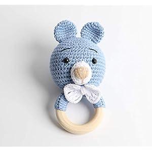 Häkel-Rassel – Taufgeschenk – Baby Rassel – Bär Blau