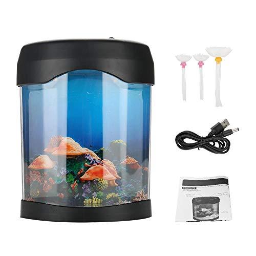 Fdit Mini Aquarium LED Farbwechsel Nachtlampe für Wohnzimmer Home Schlafzimmer Desktop Dekoration Geschenk USB Aquarium Licht