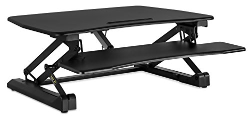 Mount-It! Electric Standing Desk Converter | Motorized Sit Stand Desk with Built in USB Port | Ergonomic Height Adjustable Workstation | Black (MI-7927E)