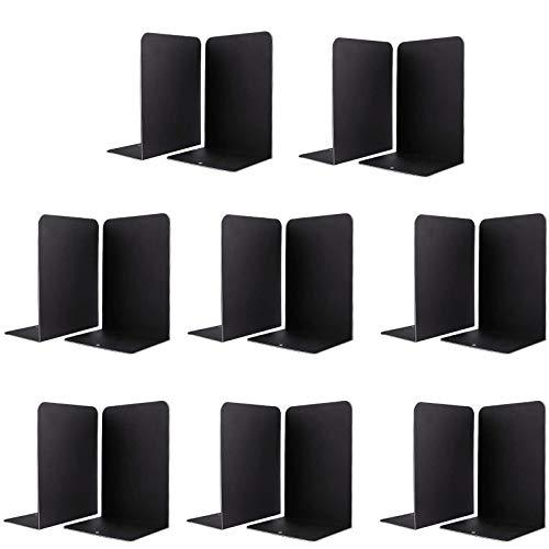 Jekkis - Sujetalibros de metal para estantes, 16 unidades, en forma de L, antideslizante, para revistas, DVD, 8 pares