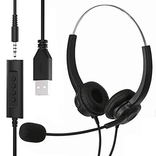 HUET USB-Headset & 3,5-mm-Klinkenstecker 2-in-1 Handy-Headset mit Mikrofon, Geräuschunterdrückung und Audio-Steuerung, PC-Kopfhörer für Geschäftskonferenzen, Anrufe