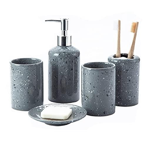 Ldd Baño de cerámica 4 Juegos/Botella de Lavado Push/Taza de Enjuague bucal/Soporte de Cepillo de Dientes/Bandeja de jabón artículos de baño