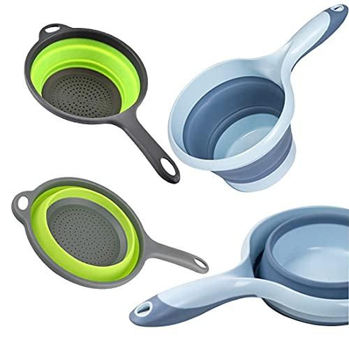 Escurridor plegable de silicona, cucharón de agua, cuchara de baño, cuchara plegable, colador de pasta de silicona, filtro de verduras, cesta para frutas, juego de accesorios de cocina(2 unidades)