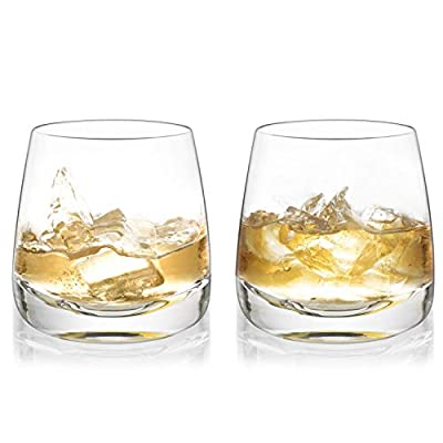 Whiskey Glasses Yurnero Cocktail Glasses set of 2 Thick Weighted Bottom Rocks Glasses Hand Blown Crystal for Old Fashioned Glasses,Scotch, Bourbon,Manhattans or Bar Drinks
