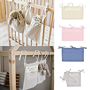 WoYii Hanging Diaper Organizer for Changing Table and Diaper Stackers Caddies and Crib Organizer Hanging Diaper Caddy Organizer for Baby Essentials Nursery Toys Organizer for Cribs (Free Size, Pink)