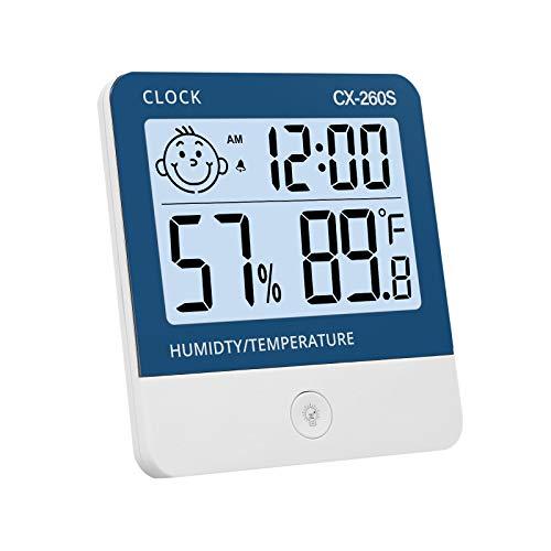 eSynic 1 pcs Termómetro Higrómetro Digital Medidor de Temperatura y Humedad Reloj + Luz de Fondo con Indicador de Confort para Interior y Exterior Habitación Casa Oficina Ambiente