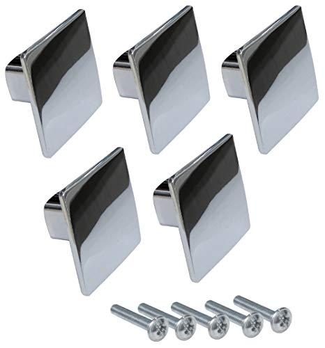 Aerzetix - Pomelli per cassetti, armadi e porte, Dimensioni: 38/38 mm, Colore: Cromato, Set da 5 Pezzi, Codice dell'Articolo: C41441