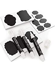 Arteza Etiquetas adhesivas para frascos + 3 Rotuladores de tiza blancos   Impermeables y extraíbles   Pegatinas de pizarra para tarros de cristal