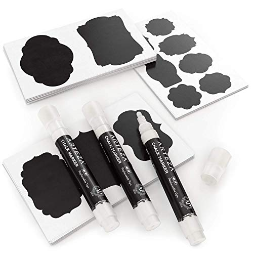 Arteza Etiquetas adhesivas para frascos + 3 Rotuladores de tiza blancos | Impermeables y extraíbles | Pegatinas de pizarra para tarros de cristal