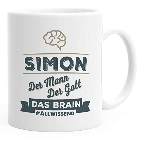 SpecialMe® personalisierte Kaffeetasse Tasse Geschenk für Klugscheißer und Brains Namenstasse personalisierte Geschenke weiß Keramik-Tasse