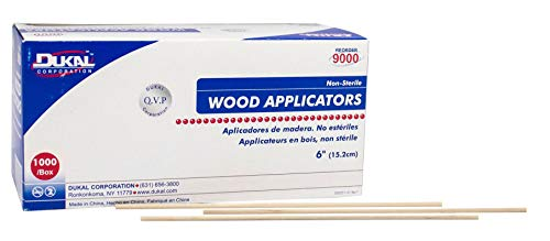 """Dukal SWood Applicators. Pack of 1000 Smooth 6"""" Applicators. Non-sterile Applicators for General Use. Medical Wood Sticks. Latex-Free, Without tip, Wood."""