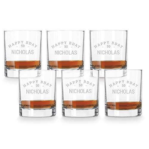 Whiskey glas graveren - 6 stuks