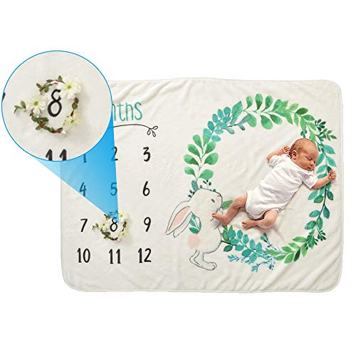 IWILCS Coperta per neonato mese, Coperta per foto per neonati, Puntello per sfondo fotografico, Coperte per età da bambino, Flanella, per ragazzi e ragazze, con piccola corona (70 * 102 cm)
