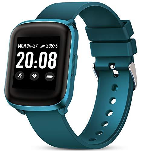 Smartwatch Fitness Donna Uomo Gokoo Orologio Cardiofrequenzimetro e Contapassi e Calorie da Polso Sportivo Activity Tracker Impermeabile IP68 per Android iOS (Blu ciano)